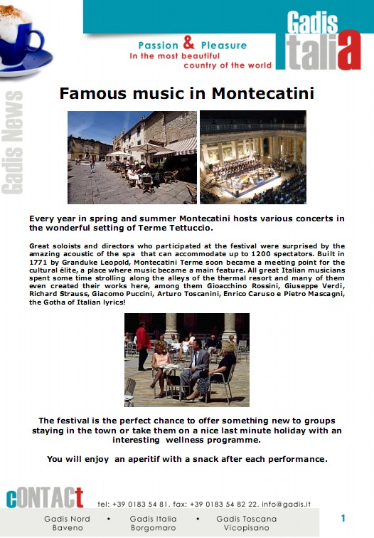 Famous music, Montecatini and the Spa