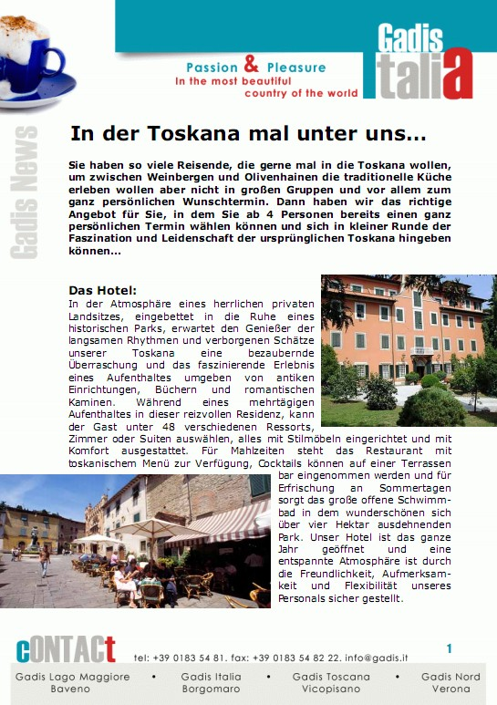 Ab 4 Personen nach Toskana...