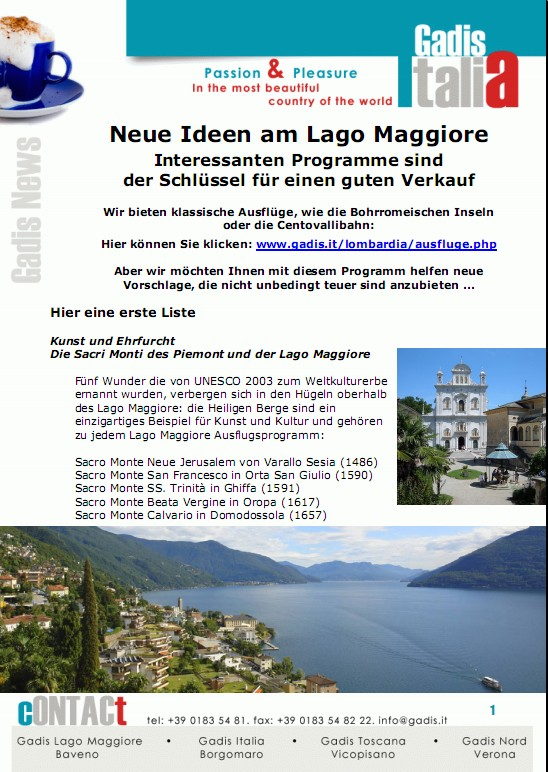 Neue Ausfl�ge an den Lago Maggiore