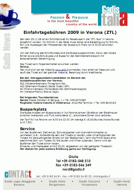 Einfahrtsgeb�hren (ZTL) 2009 in Verona