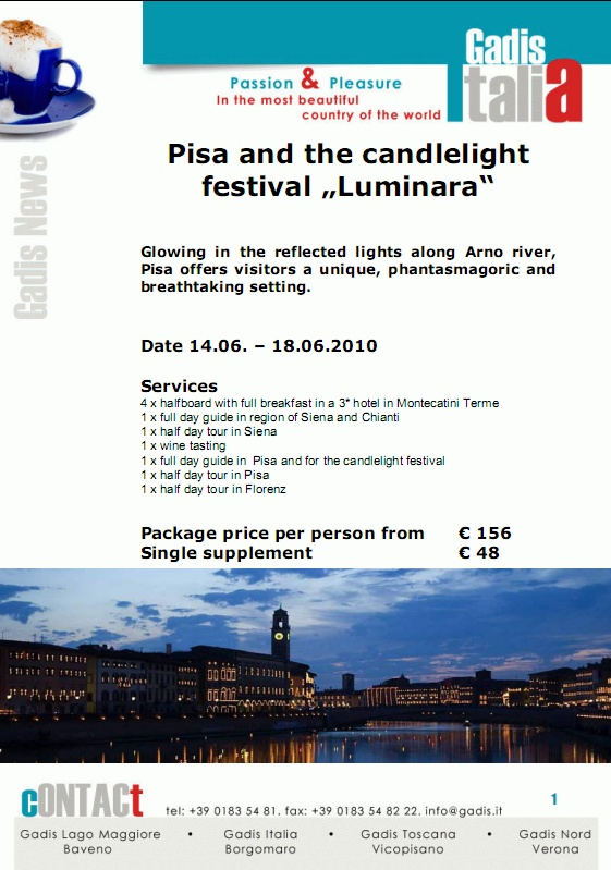 "Pisa and the candlelight festival ""Luminara"""