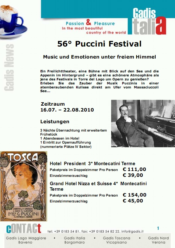 <strong>56� Puccini Festival</strong> Music und Emotionen unter freiem Himmel