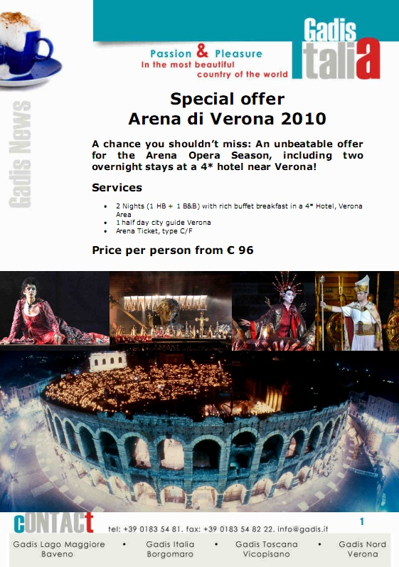 Special offer  Arena di Verona 2010