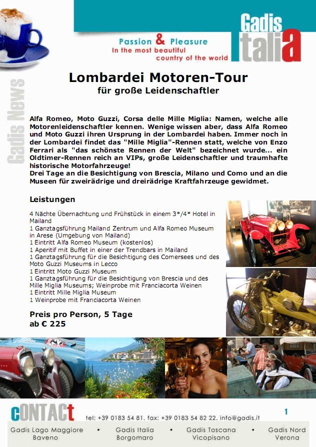 Lombardei Motoren-Tour  f�r gro�e Leidenschaftler