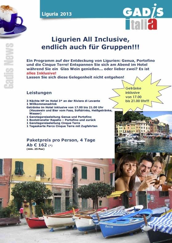 Ligurien All Inclusive, endlich auch f�r Gruppen!!!