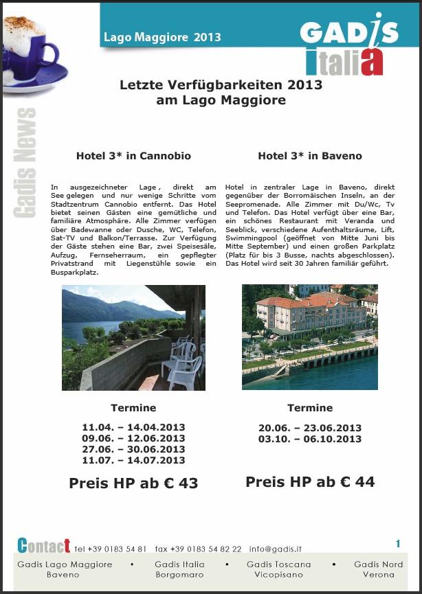 Letzte Verf�gbarkeiten 2013 am Lago Maggiore