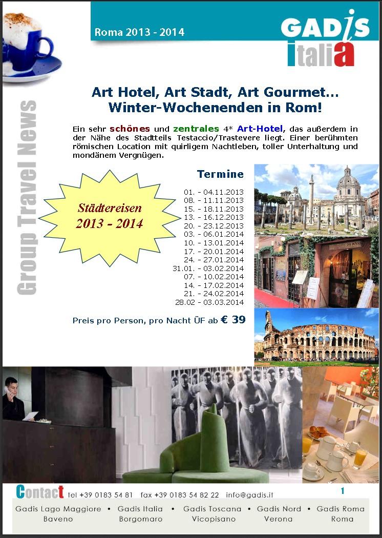 Rom, Winter-Wochenende...<br> Art Hotel, Art Stadt, Art Gourmet!