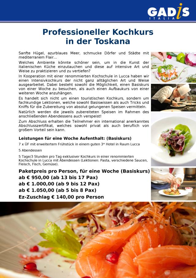 Professioneller Kochkurs in der Toskana