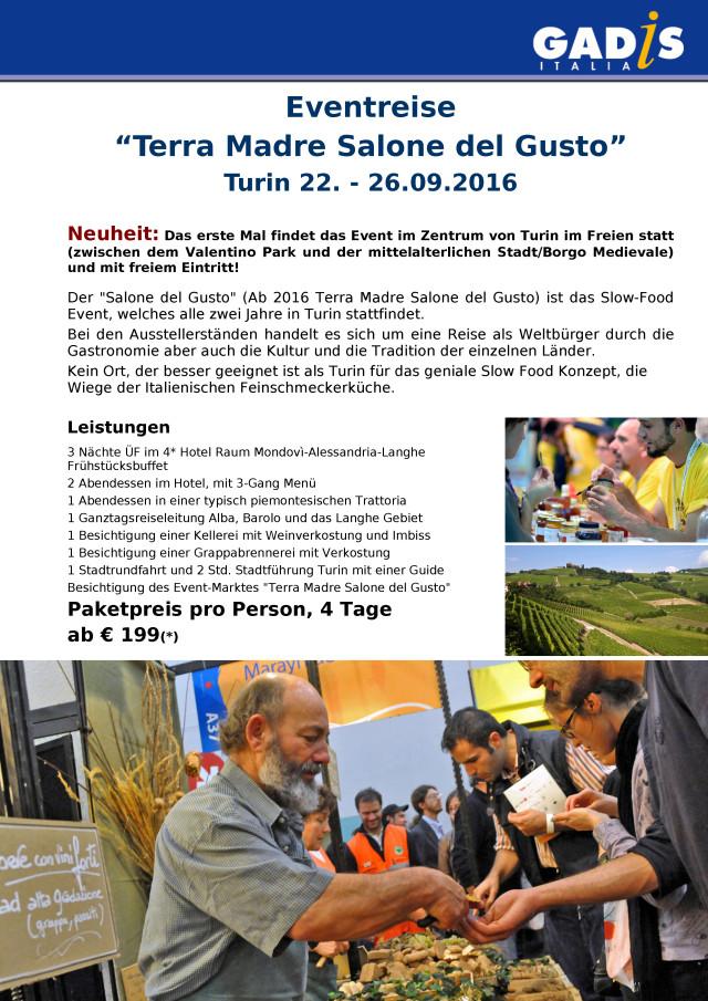Eventreise �Terra Madre Salone del Gusto� Turin 22. - 26.09.2016