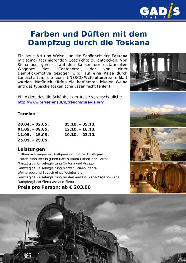 Dampfzug durch die Toskana