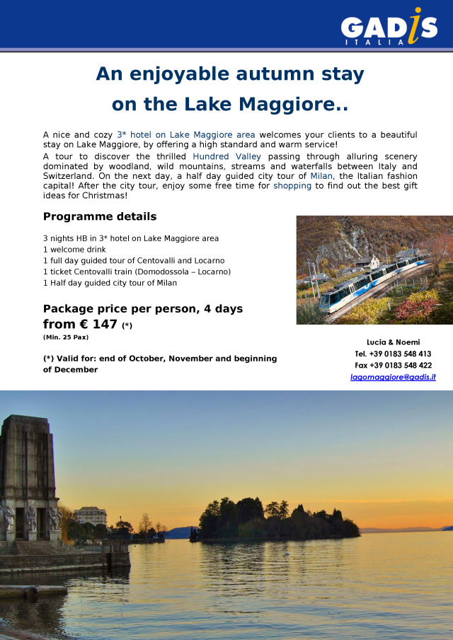 A stay at the Lake Maggiore, in time for Xmas Shopping!