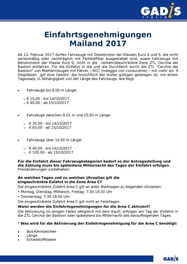Einfahrtsgenehmigungen Mailand