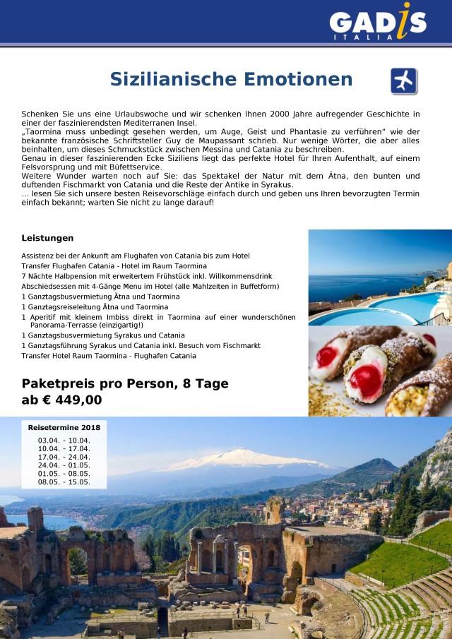 Sizilien mit festem Hotel 2018