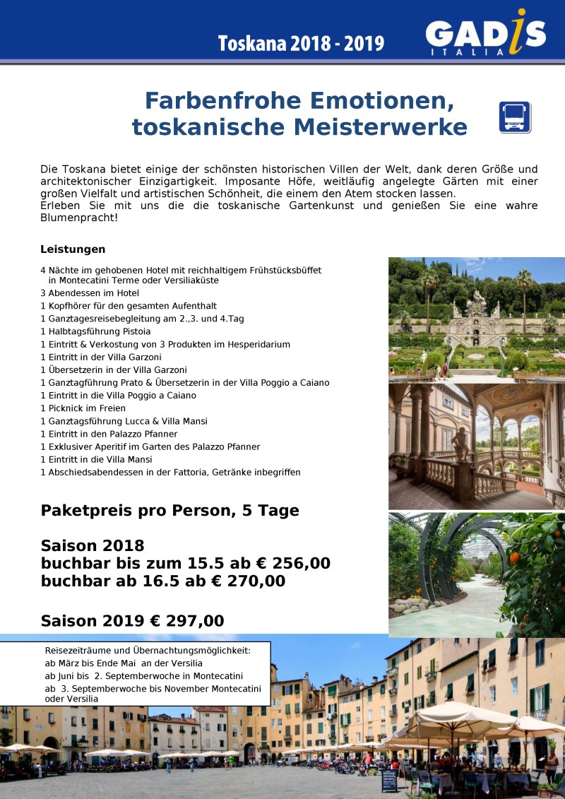 Zauberhafte G�rten der Toskana - 2018