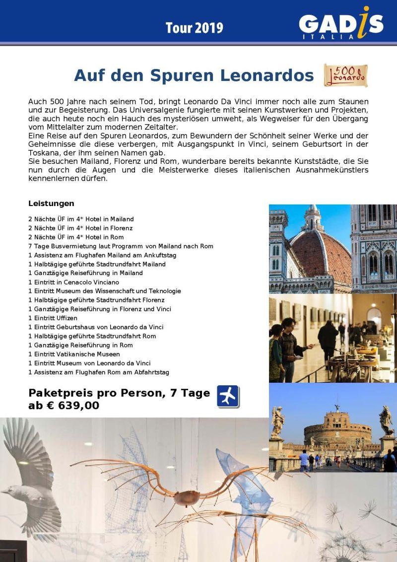 500 Jahre seit Leonardo da Vinci - Tour Italien 2019