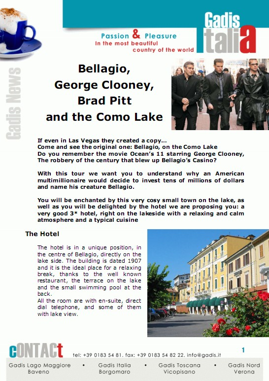 Bellagio, George Clooney, Brad Pitt and the Como Lake